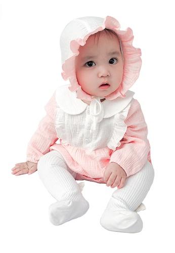 Kiddies Crew white and pink and multi 2 Piece Little Sunshine Ruffles Collar Boys Girls Baby Kids Long Sleeve Romper Onesie Overalls Bodysuit With Headwear (Pink) FEE0FKAFE19292GS_1