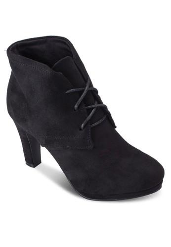 繫帶粗跟布料踝靴, 女鞋, zalora 男鞋 評價鞋