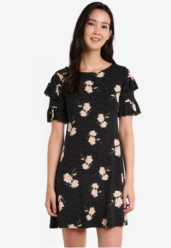 Dorothy Perkins black Spot Ruffle Front Swing Dress DO816AA0RCHKMY_1