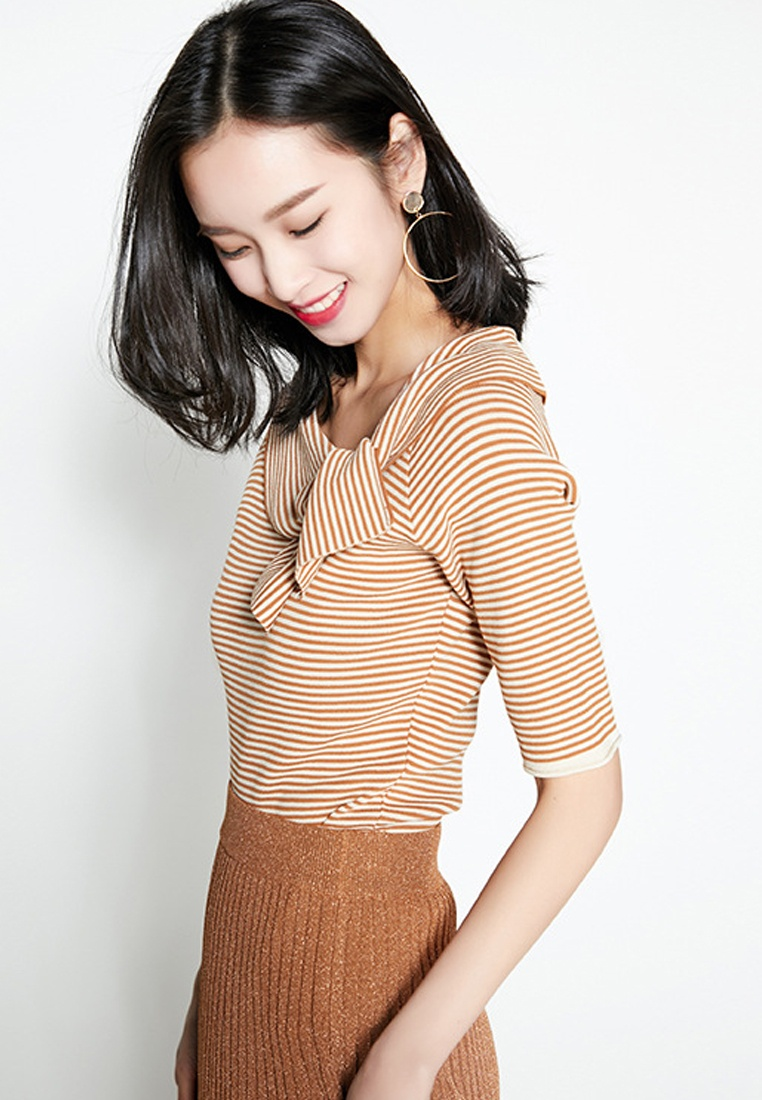 New brown Top Shoulder Temperament Knit Stripe Sunnydaysweety CA040901RD Off CUKwZqF45B