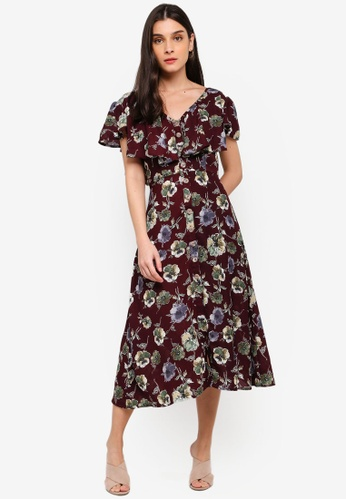 ZALORA red and multi V-Neck Ruffles Midi Dress EEA38AA24629BFGS_1