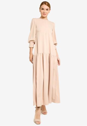 REALFANTASY beige Inaya Dress Nude 26B5DAAB127CADGS_1
