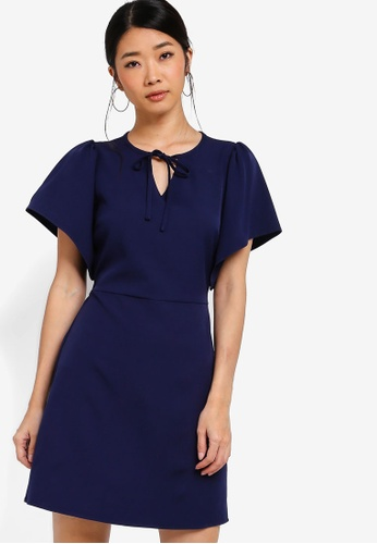Something Borrowed navy Flare Sleeves Fit And Flare Dress 8CFECAA3D6F48FGS_1
