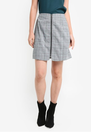 ZALORA grey Zippered Plaid Skirt 4DA26AA5544EA6GS_1