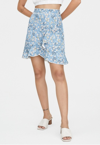 Pomelo blue Ruffled Hem Floral Skirt - Blue 6FD6AAA5D615AEGS_1