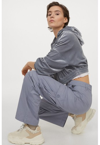 H&M grey Wide utility trousers F2885AA54CB88DGS_1