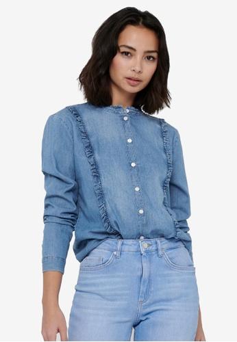 JACQUELINE DE YONG blue Sille Life Long Sleeves Frill Shirt 12DBCAAB031136GS_1