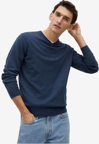 MANGO Man blue Cotton Cashmere-Blend Sweater 3B32AAA75A011AGS_1