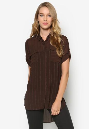刺繡zalora 評價條紋短袖襯衫, 服飾, 上衣