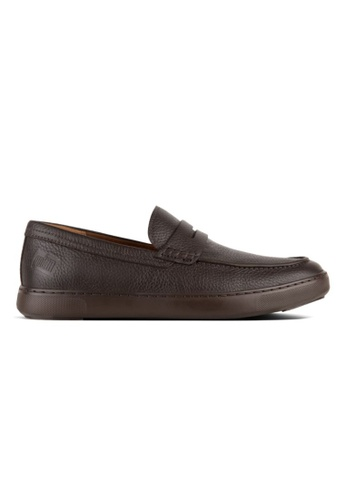 FitFlop brown Fitflop Men Boston Leather Loafers Chocolate A679DSH9A27DD7GS_1