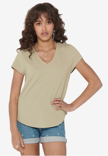 ONLY beige Tina V-Neck Top 97D0EAA0B4A7CDGS_1