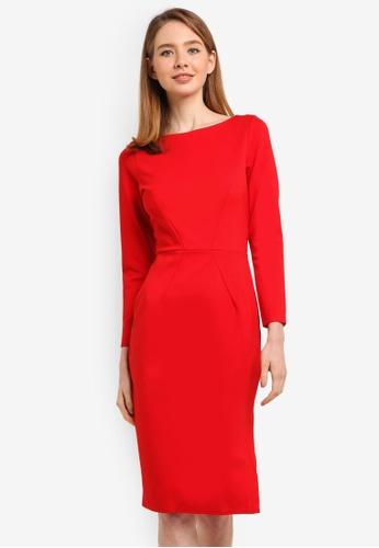 CLOSET red Long Sleeve Bodycon Dress 877D7AA09D0F0DGS_1