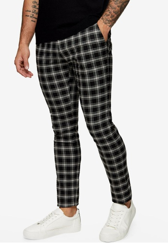Topman black Black And White Check Super Skinny Trousers 2542CAA61A1746GS_1