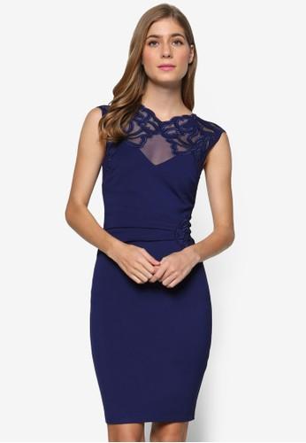側貼花薄紗拼接無袖緊身連身裙,zalora 鞋評價 服飾, 服飾