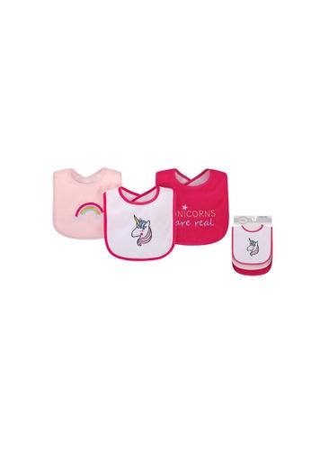 Little Kooma white and pink Baby Girl Knit Terry With Peva Bib 3pc Unicorns Rainbows 00575CH B2611KCC0ADFD4GS_1