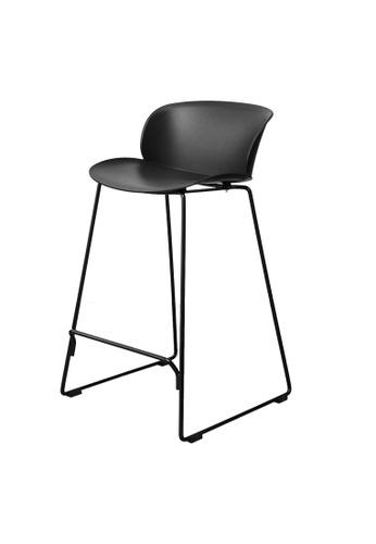 Joy Design Studio black Tracy Stool Polypropylene Seating Powder Coated Metal Leg 65cm Height Black Color C50BCHLF175F43GS_1
