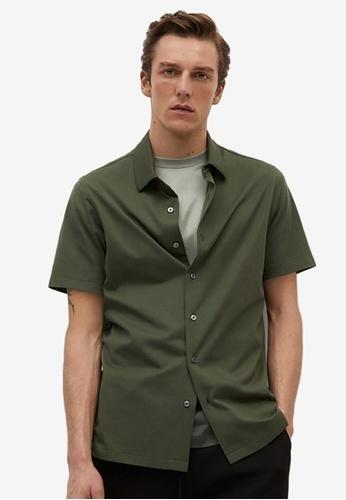 MANGO Man green Technical Cotton Regular-Fit Shirt 72CFFAAF0C5D91GS_1