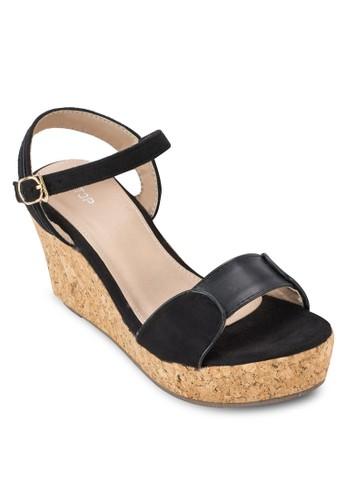 軟木楔型繞esprit官網踝涼鞋, 女鞋, 楔形涼鞋