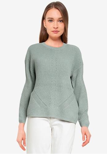 Pieces green Karie Long Sleeve O-Neck Knit Sweater 009E8AA65E8470GS_1