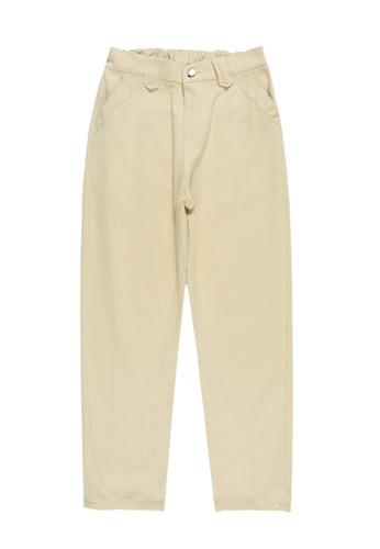 Zafiti beige Women's Elastic Waist Cropped Pant - Khaki D7706AA41A15FBGS_1