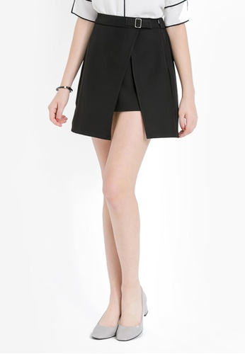 Kodz black Skirt With Belt Buckle Embellishment KO698AA0RKEHMY_1