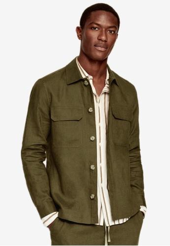 MANGO Man green Linen Overshirt With Pockets 5717EAA418A2EFGS_1