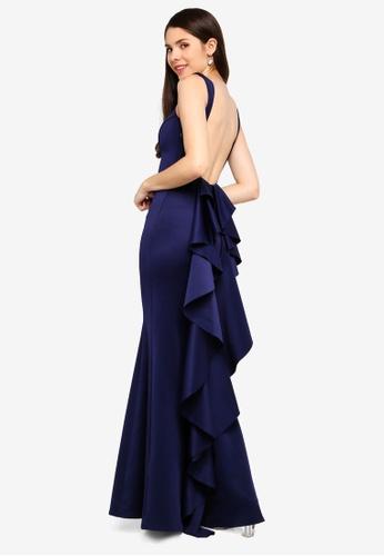 Goddiva navy Open Back Waterfall Maxi Dress ACE90AA98A8415GS_1