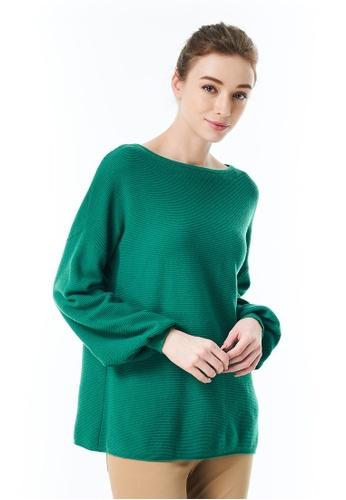 United Colors of Benetton 綠色 落肩素色針織 F53D9AAEDA7C38GS_1