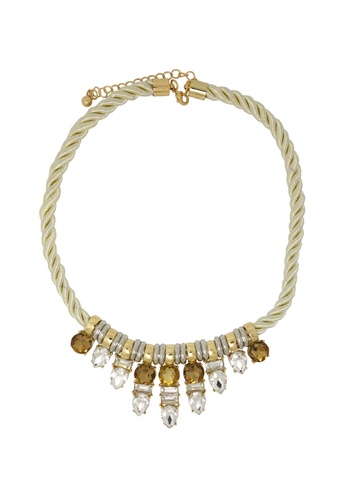 Jaysa Collection white Crystal Array Pendant Necklace with Luxury Satin Cord JA875AC0EZFRSG_1