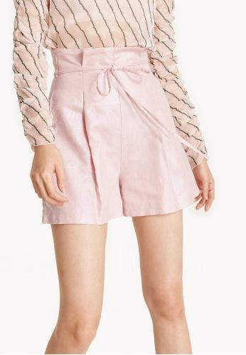 Pomelo pink Metallic Linen Paperbag Waist Shorts - Pink 64C09AAB2DD60FGS_1