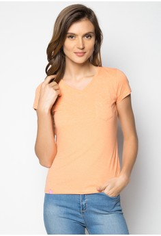 Plain V-Neck Top With Pocket