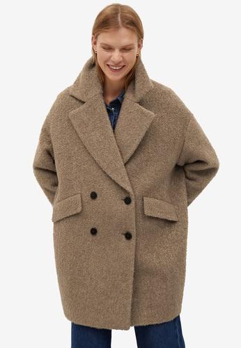 Mango brown Textured Wrap Coat 2DFF6AABD7B8C5GS_1