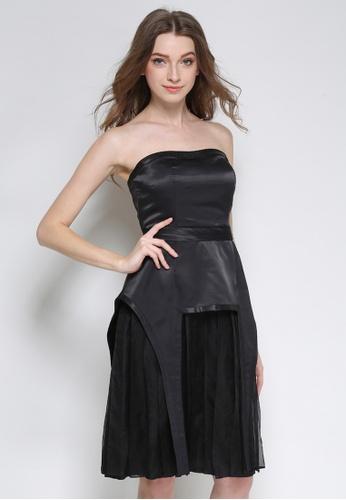 Sunnydaysweety black Black Silk Pleated Tube One Piece Dress K20043098 1D2D6AA04604D2GS_1