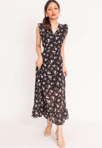 Hook Clothing black and multi Daisy Ruffle Sleeve Maxi Dress 64B1CAAFABCD0CGS_1