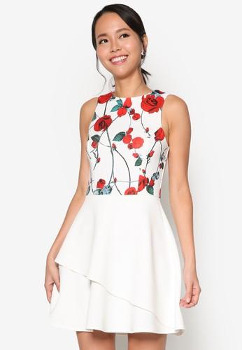 印esprit hong kong花無袖層次裙擺洋裝, 服飾, 洋裝