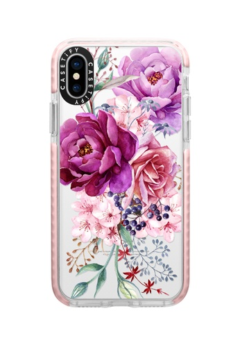 Casetify pink and multi Purple Peony Watercolour Impact Case For iPhone XS/ iPhone X - Pink AF0BEAC5ED1F7AGS_1
