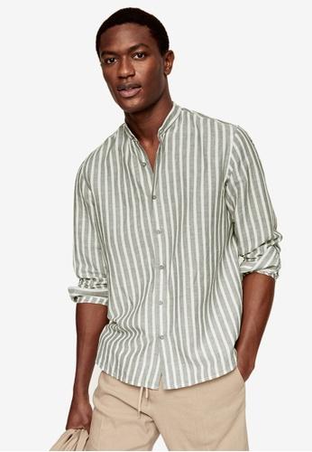 MANGO Man green Regular-Fit Striped Linen Shirt 4E32EAA66B6DE5GS_1