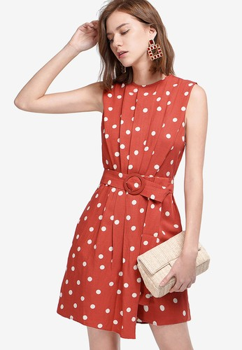 Saturday Club red Layered Hem Dotted Dress 8B9EAAAE321639GS_1