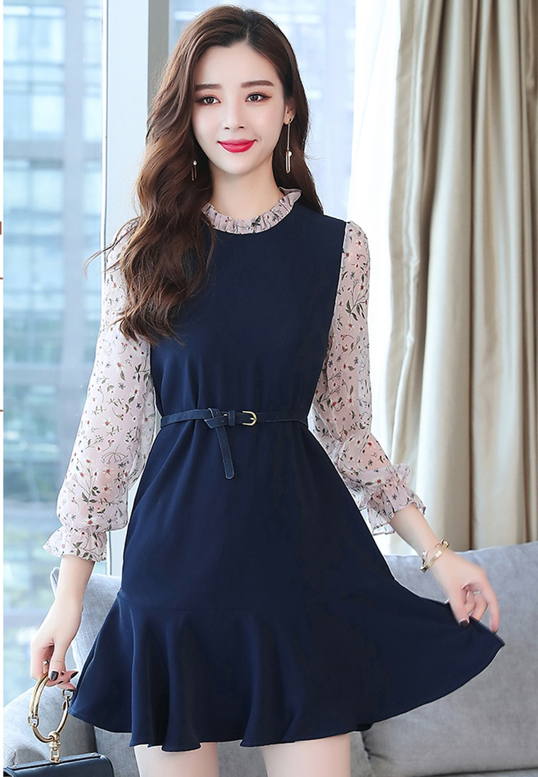 Floral With Shift Halo Navy Belt Dress R0UqW6r0n