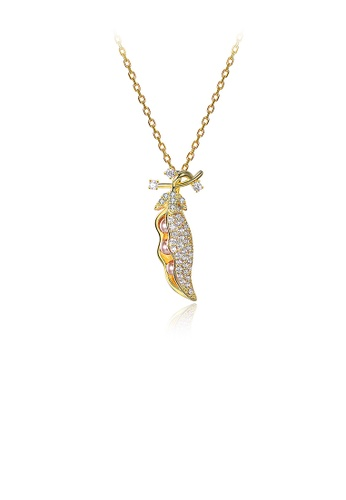 Glamorousky pink 925 Sterling Silver Plated Gold Bean Pendant with Austrian Element Crystal and Necklace 3879CAC4DF5138GS_1