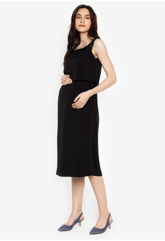 338378289f4f2 Great Expectations black Off Shoulder Layered Front Mid Length Nursing Dress  BC9A5AAC8F9245GS 1