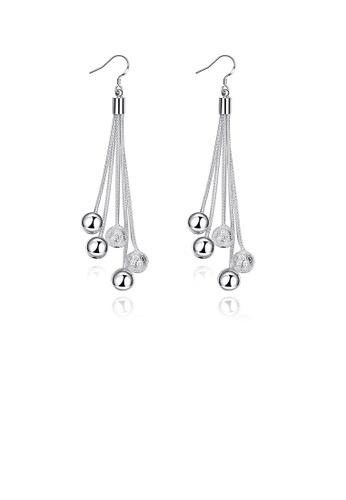 Glamorousky silver Simple Tassel Bead Earrings 810AFACBEE37B8GS_1
