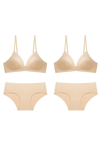 K.Excellence gold Premium Comforn Gold&Gold Lingerie Set (Bra and Underwear) CFCBEUSD8A5453GS_1