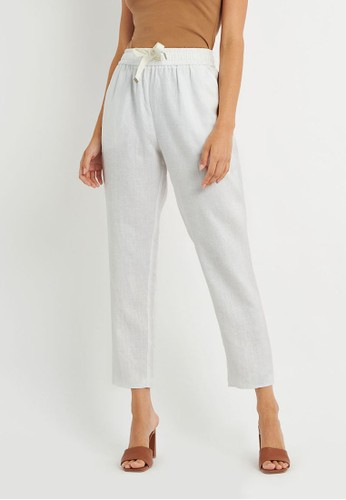 FORCAST white FORCAST Thalia Linen Pants 30831AA9B33BF0GS_1