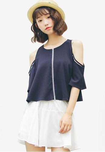Shopsfashion navy Split Shoulder Blouse 90786AA09B594EGS_1