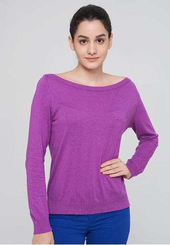 United Colors of Benetton purple Boat Neck Sweater 6341AAAA6DD21CGS_1