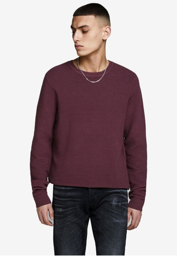 JACK & JONES red Liam Plain Knitted Pullover 61731AA643AD6EGS_1