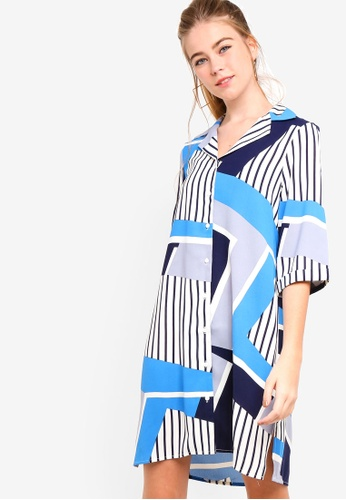 Something Borrowed white and blue Resort Shirt Dress 06A09AA2315057GS_1