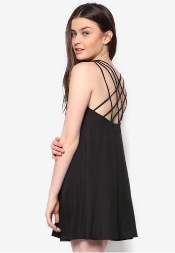 Love 交叉背帶寬擺洋裝,zalora時尚購物網評價 服飾, 洋裝