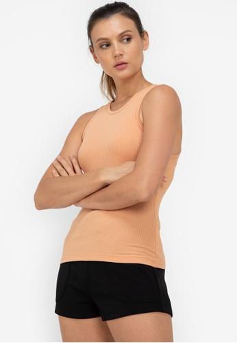 ZALORA ACTIVE orange Thick Bind Cut In Rib Tank Top 8AD83AA4769417GS_1